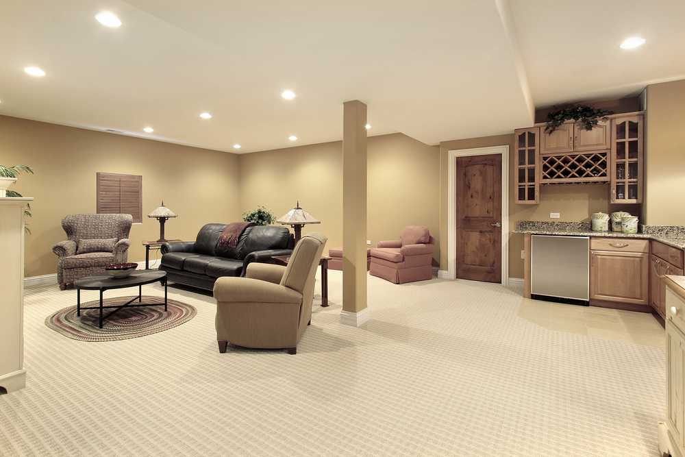 Newly completed basement remodel