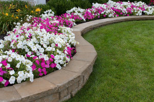 flower garden wall built by a retaining wall contractor