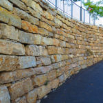 retaining walls next to a road