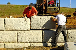 contractors installing commercial retaining walls