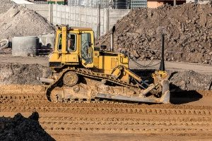 bulldozer operated by a fill dirt contractor at a Vienna, VA residential construction area