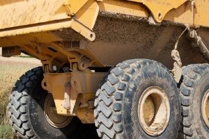 closeup of a dump truck at a Fairfax, VA construction zone