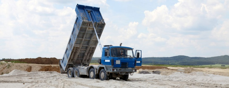 dump truck unloading for a Vienna, VA fill dirt delivery service