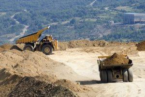 dump trucks at a Centreville, VA quarry preparing for a fill dirt delivery