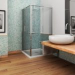 end result of a Fairfax bathroom remodeling project in VA with wood planks as the floor