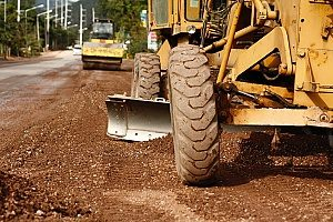 Virginia fill dirt being graded and bulldozed in order to create a stable and steady surface to build ne apartment buildings on