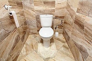 a 3-d tile  formation in a brand new Fairfax, VA bathroom that is surrounding a toilet