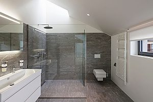 a glass shower that includes a vertical shower head to provide extra luxuries