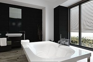 a stand-alone bathtub that was perfectly installed by a Fairfax bathroom remodeling contractor and works well beyond the expectations of the homeowners