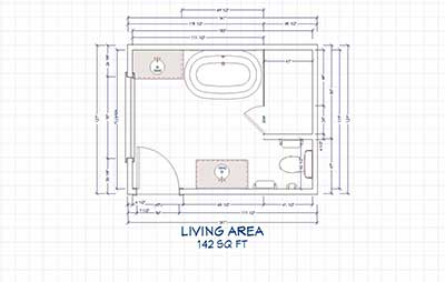 Standard bathroom floor plans with dimensions
