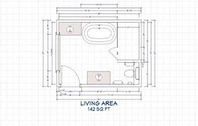 Standard bathroom floor plans with dimensions