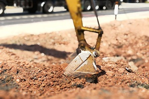 Virginia fill dirt being excavated for highway construction project