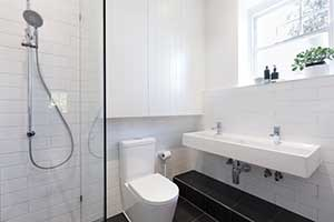 Small bathroom remodel completed by a Fairfax bathroom remodeling contractor