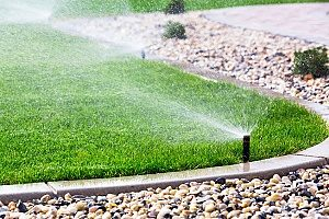 a sprinkler system watering a yard that the homeowners have found several uses for topsoil for including fixing damage in the lawn