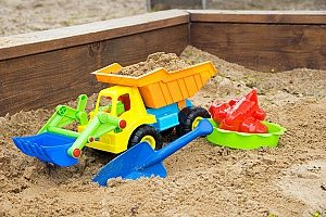excess sand from a construction project used to make the sandbox that is displayed in the picture while the rest was hauled through a dirt removal contractor in Fairfax, VA