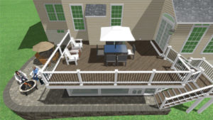 3D rendering showing additions plans for a backyard including a deck and a patio