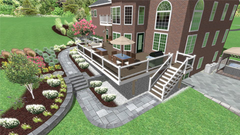 a 3D rendering of a deck in Fairfax, VA that came with additions plans supplied by a fill dirt contractor