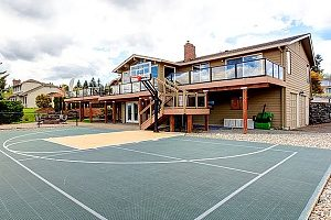 a backyard basketball court that was built using Maryland fill dirt delivered by a licensed and insured contractor
