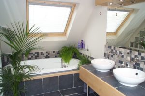 Blue tiled full bathroom with two sink bowls