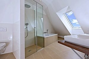 irregular shaped house and tile that a Fairfax bathroom remodeling contract must work on