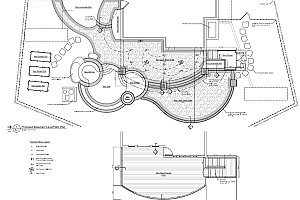 site construction plans of a backyard patio and pool area for a Fairfax, VA home