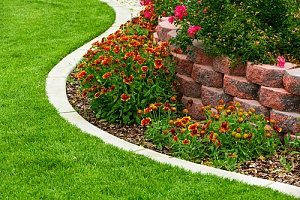 a retaining wall that was created in a backyard with fill dirt for proper drainage of a garden