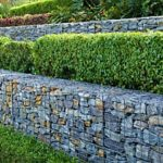 retaining walls containing bushes that are being supported by fill dirt