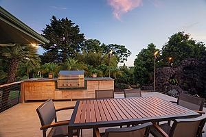a backyard BBQ island in Fairfax, VA