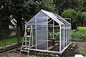 backyard greenhouse under construction