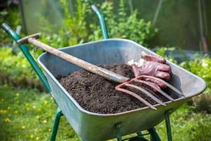 topsoil in a wheelbarrow