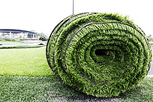 Big Artificial Grass Rolled Up