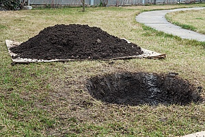 fill dirt that a homeowner will use to fill a hole