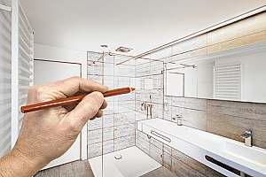 a bathroom plan and design being used by a contractor