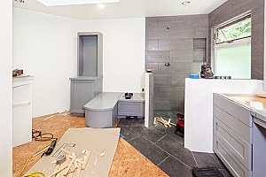 a bathroom remodel by the dirt connections construction team