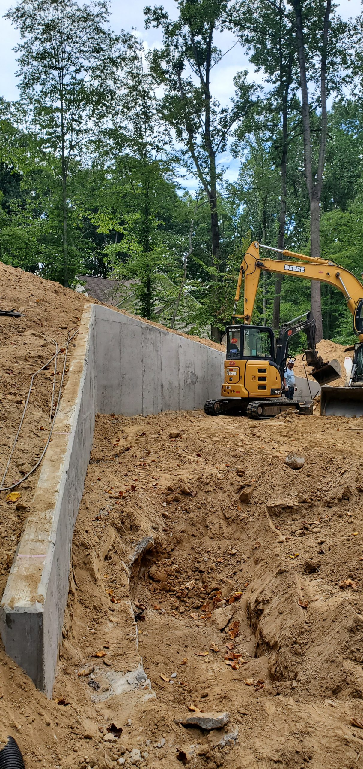 Concrete retaining wall under construction Fairfax, Virginia