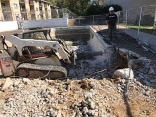 Swimming pool removal and demolition work