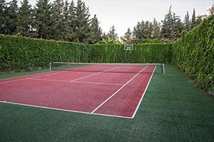 Artificial surface tennis court.
