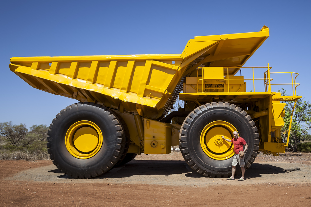 Large rigid dump truck used in large scale mining operations
