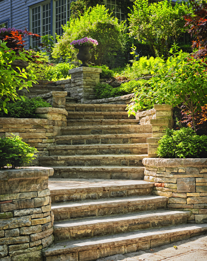 Beautiful retaining walls and steps
