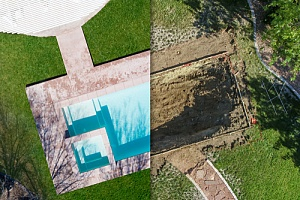 Aerial view of pool removal