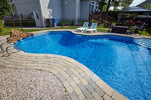 Inground pool in backyard