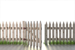 Picket Fence with Open Gate