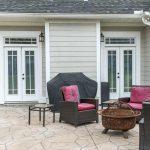 Backyard concrete patio