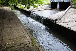 Stormwater runoff in cement waterway