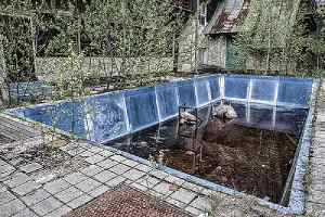 Old and dilapidated swimming pool. A poor pool removal process can create sinkholes