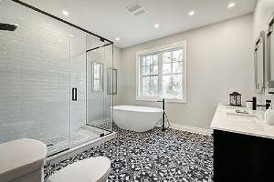 A custom home addition bathroom