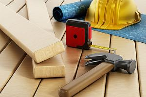 A home addition construction project tools and a project blueprint