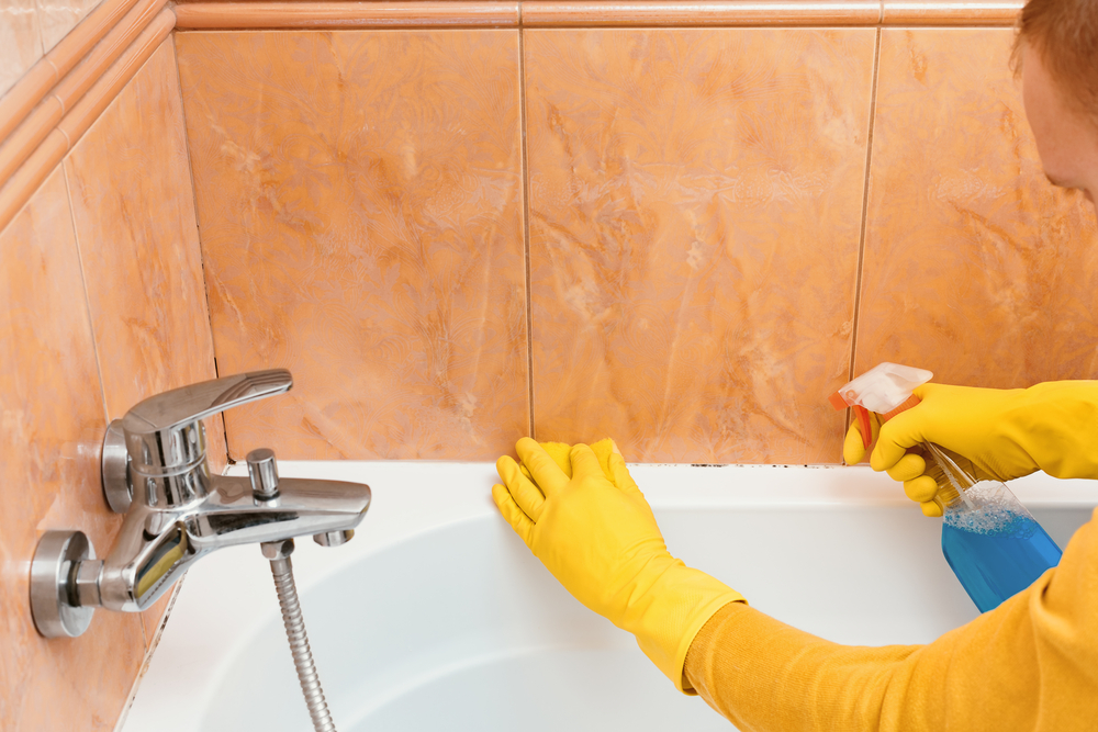 cleaning the mold in the bathroom by Dirt Connections