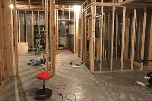 Framework of a basement remodeling project