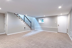 a newly finished basement completed by a Northern VA basement remodeling contractor